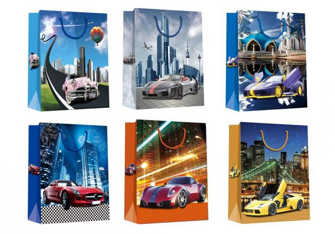 Christmas Gift Paper Shopping Bags with car patters design Chinese Manufacturer
