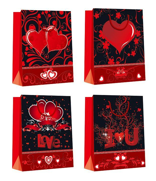 Customized Luxury Shopping Glossy Paper Bags for Valentine's Day eco-friendly