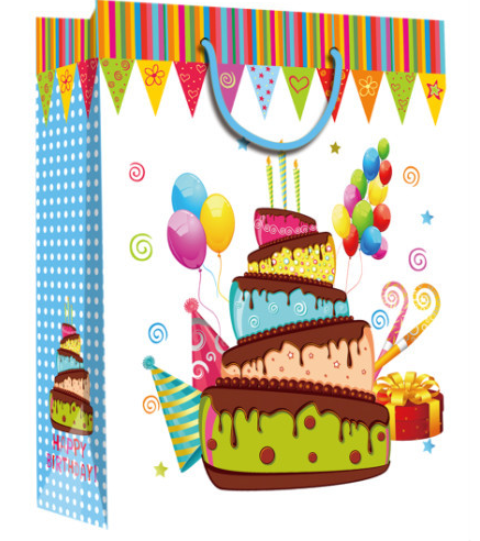 Good quality birthday design paper bag with glossy /shinny lamination