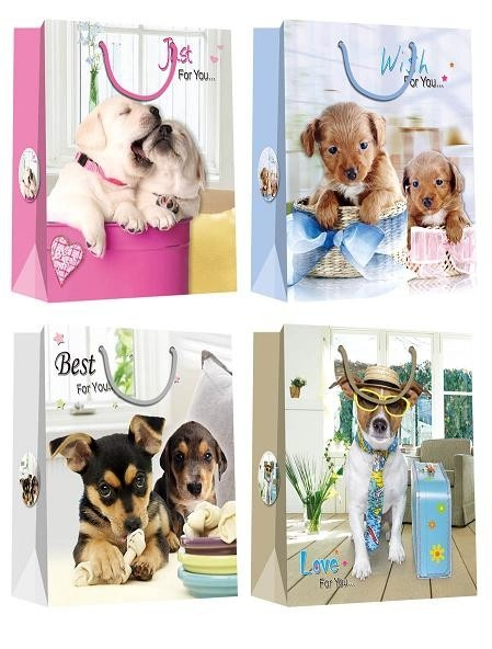 Christmas Paper Gift Bags with lovely dog pattern desgins