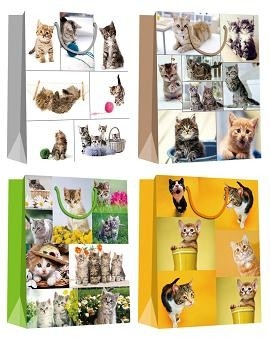 Popular Gift Packaging Paper Bags with cat patterns everyday shopping