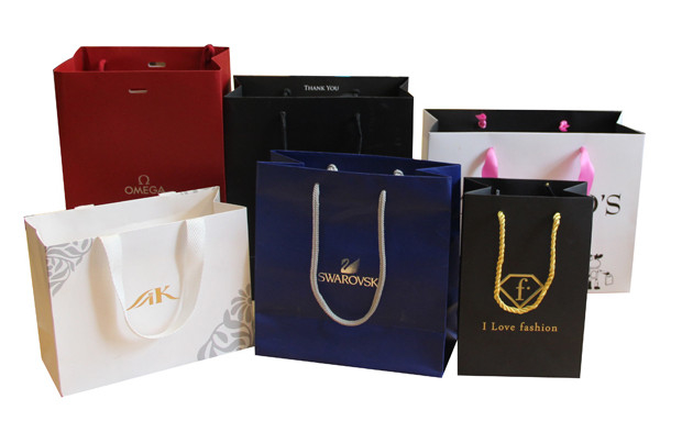 Custom Fancy Logo Printed Shopping Paper Carrier Bags