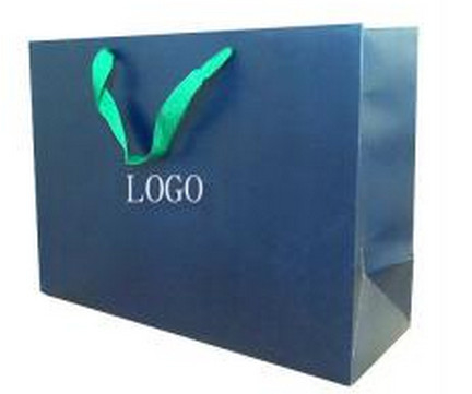 Custom Made with Logo Luxury Printed Paper Shopping Bags with Ribbon Handles