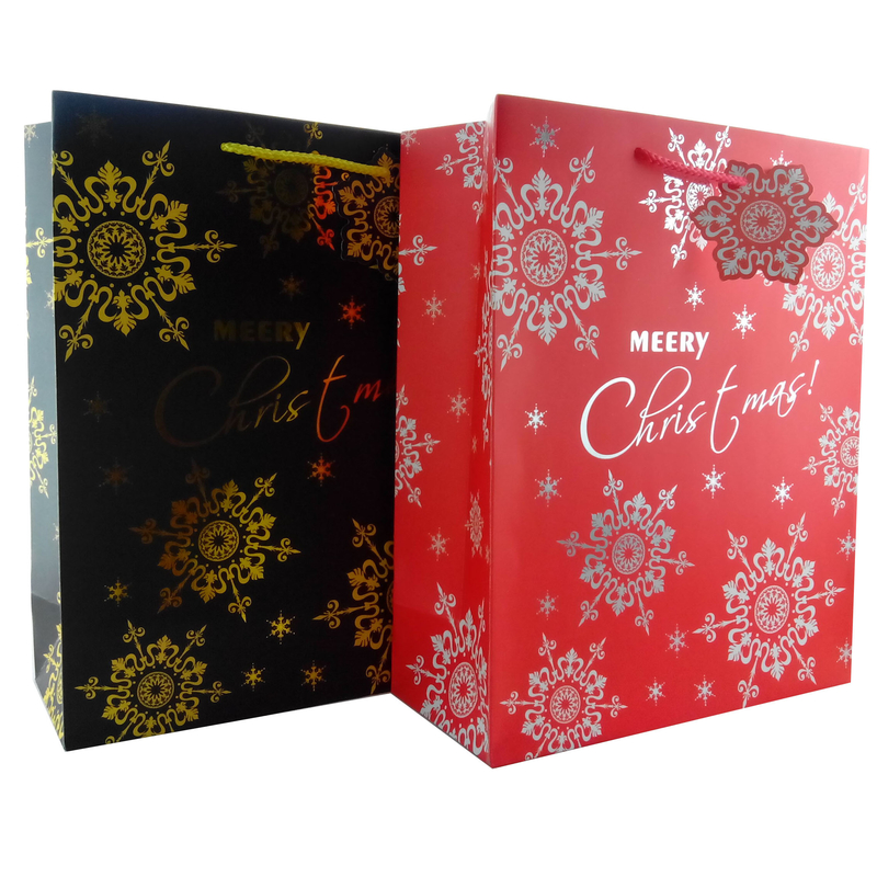 Luxury Christmas Gift Paper Bags with Flower Patterns differnt colors