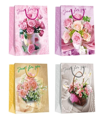 China Valentine day flower pattern designs Paper Shopping Bags distributor